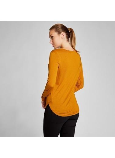 Vekem-Limited Edition Uzun Kollu Bisiklet Yaka Basic Bluz Sarı